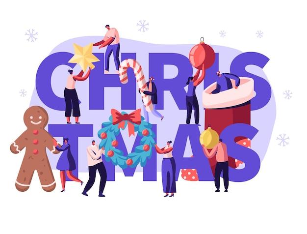 Płaskie ilustracja kreskówka koncepcja sezonu bożego narodzenia