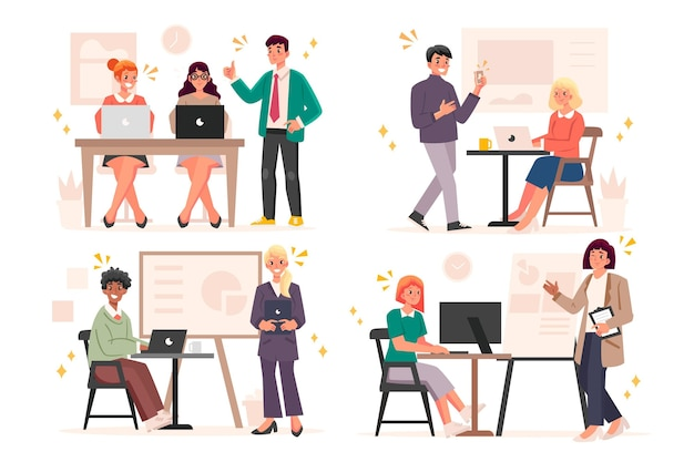 Płaskie ilustracja ludzie na szkoleniach biznesowych