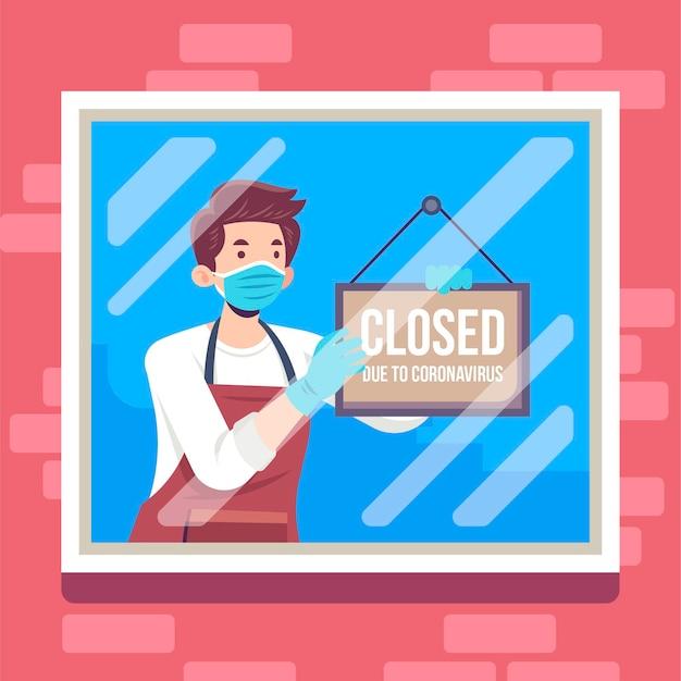 Płaskie ilustracja ludzie wiszący zamknięty szyld
