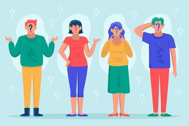 Płaskie ilustracja ludzie zadający pytania