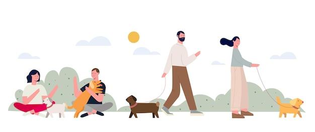 Płaskie ilustracja ludzie ze zwierzętami w parku