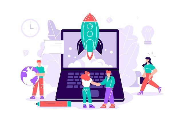 Płaskie ilustracja na białym tle. koncepcja uruchomienia nowej firmy na stronie internetowej, baner, prezentacja, media społecznościowe, rozpoczęcie projektu biznesowego. młoda wschodząca firma. wystrzelenie rakiety w kosmos