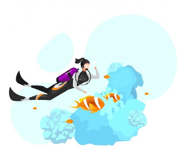 Płaskie ilustracja nurkowanie. nurkowanie podwodne, nurkowanie z rurką. ekstremalne wrażenia sportowe. aktywny styl życia. letnie zajęcia na świeżym powietrzu. sportsmenka na białym tle postać z kreskówki na niebieskim tle