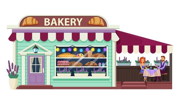 Płaskie ilustracja piekarnia.