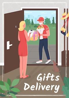 Płaskie ilustracja plakat dostawy prezentów