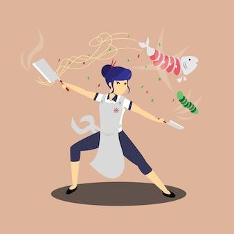 Płaskie ilustracja postaci szefa kuchni