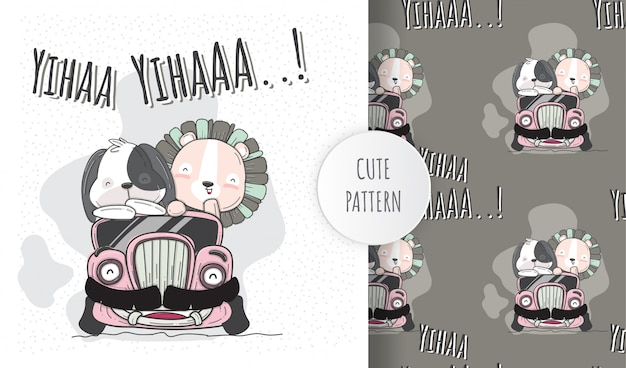 Płaskie ilustracja słodkie zwierzęta na samochodzie