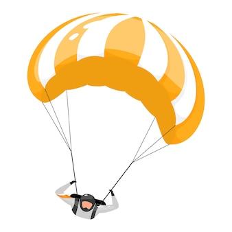 Płaskie ilustracja spadochroniarstwo. skoki spadochronowe. sporty ekstremalne. aktywny styl życia. zajęcia na świeżym powietrzu. sportowiec, spadochroniarz na białym tle postać z kreskówki na białym tle