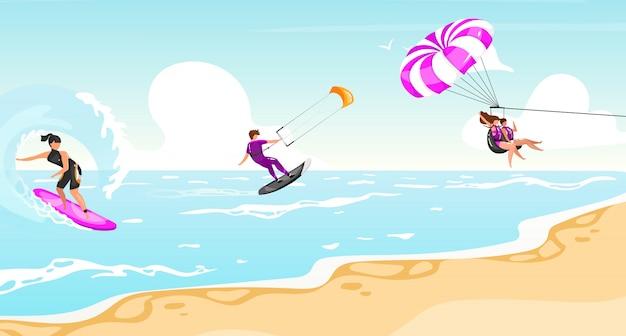 Płaskie ilustracja sporty wodne. surfing, kitesurfing, parasailing. sportowiec na łodzi aktywny tryb życia na świeżym powietrzu. tropikalne wybrzeże, turkusowy krajobraz wodny. postaci z kreskówek sportowców