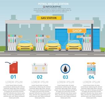Płaskie ilustracja stacji benzynowej usługi olejowej z elementami infografiki sklepowe