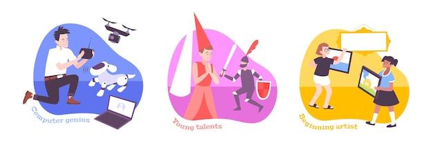Płaskie ilustracja sukcesu dzieci
