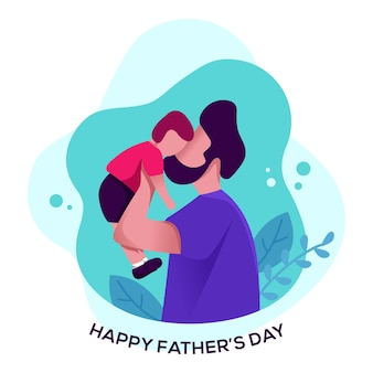 Płaskie ilustracja szczęśliwy ojciec dzień