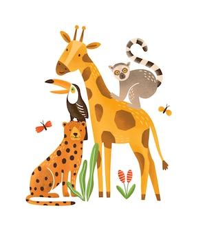 Płaskie ilustracja tropikalnych zwierząt