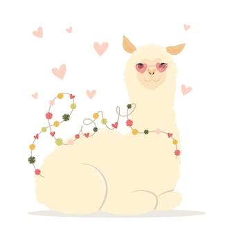Płaskie ilustracja walentynki. bądź moją llamantyńską kartą ze słodką lamą alpaką i sercami. kartkę z życzeniami lub zaproszenie w modnym stylu. ilustracja wektorowa