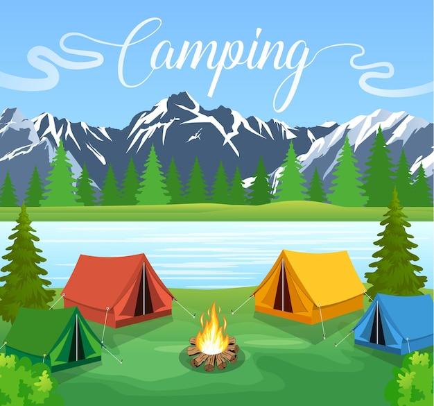 Płaskie ilustracja wektorowa camping
