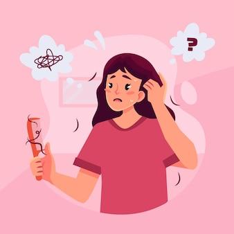 Płaskie ilustracja wypadanie włosów z kobietą