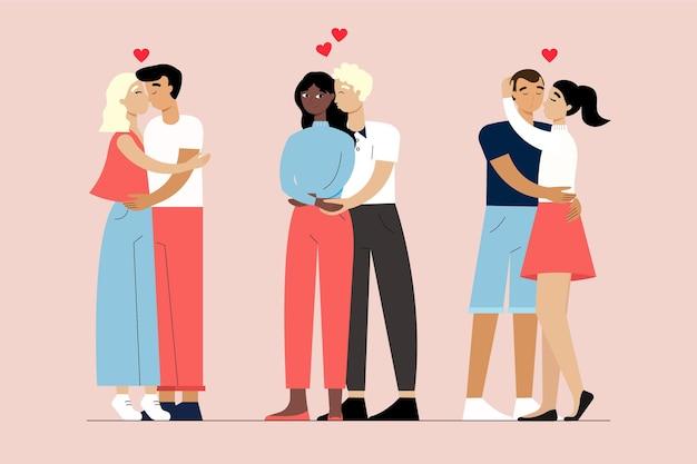 Płaskie ilustracja z całującymi się parami