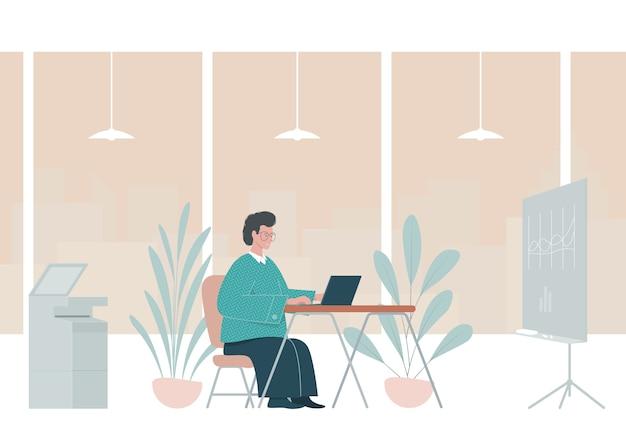 Płaskie ilustracja z człowiekiem pracującym w biurze.