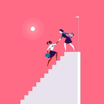 Płaskie ilustracja z damami biznesu, wspinając się na białe schody razem na czerwonym tle. zwycięstwo, osiągnięcie, osiągnięcie celu, partnerstwo, motywacja, damski zespół, feminizm – metafora.