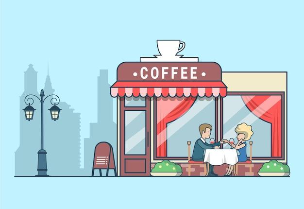 Płaskie ilustracja z mężczyzną, który proponuje swojej pani na tarasie kawiarni