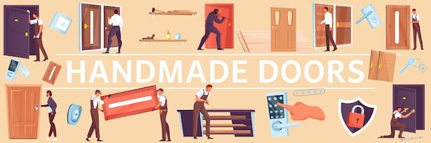 Płaskie ilustracja z zamkami do drzwi i ilustracją ludzi w różnych sytuacjach