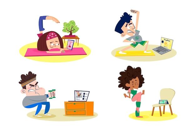 Płaskie ilustracja zajęcia sportowe online