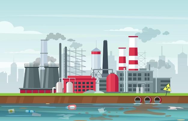 Płaskie ilustracja zanieczyszczenia środowiska. budynki fabryczne emitujące dym, emisję gazów szkodliwych. zanieczyszczenie powietrza i wody. smog przemysłowy, zanieczyszczenie odpadami. globalny problem ekologiczny
