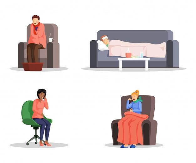 Płaskie ilustracje chorych osób zestaw. młodzi mężczyźni i kobiety z postaciami z kreskówek z przeziębieniem, gorączką i bólem głowy. wirus grypy, choroby domowe i leczenie, elementy projektu opieki zdrowotnej