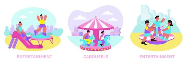Płaskie ilustracje kompozycji centrum rozrywki