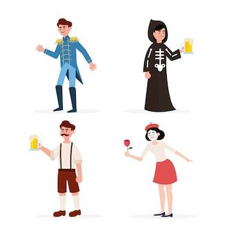 Płaskie ilustracje postaci karnawałowych w kostiumach