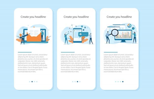 Płaskie ilustracje projekt koncepcji ekranu aplikacji mobilnej onboarding