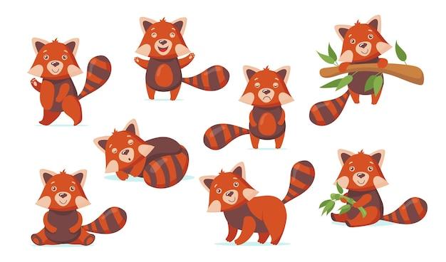 Płaskie ilustracje śmieszne czerwona panda zestaw do projektowania stron internetowych