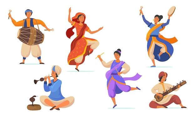Płaskie ilustracje stylowych indyjskich artystów ulicznych do projektowania stron internetowych