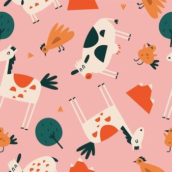 Płaskie ilustracje wektorowe zestaw zwierząt stojących - koń, krowa, kurczak i ptak z owcami. zabawne postacie dla dzieci. bez szwu wzorów w stylu kreskówki.