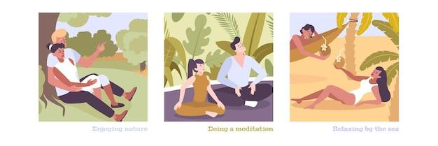 Płaskie ilustracje z ludźmi cieszącymi się przyrodą, medytacją i relaksem nad morzem
