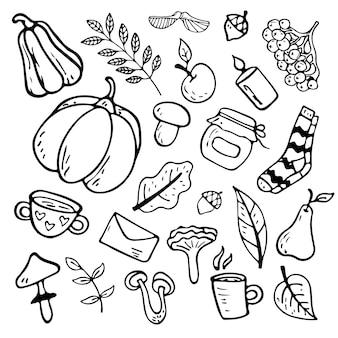 Płaskie ilustracji wektorowych na temat jesieni: grzyby, warzywa, liście, słodkie atrybuty. obiekty doodle są wycinane. dekoracja tła.
