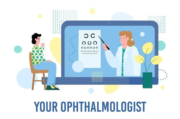 Płaskie ilustracji wektorowych pacjenta w okularach sprawdzania ich wzroku i lekarza okulisty. koncepcja badania lekarskiego i konsultacji online. zdrowy tryb życia