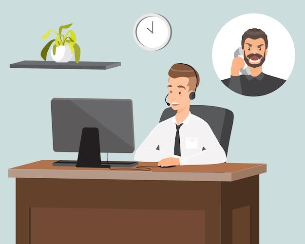 Płaskie ilustracji wektorowych przedstawiciela działu obsługi klienta