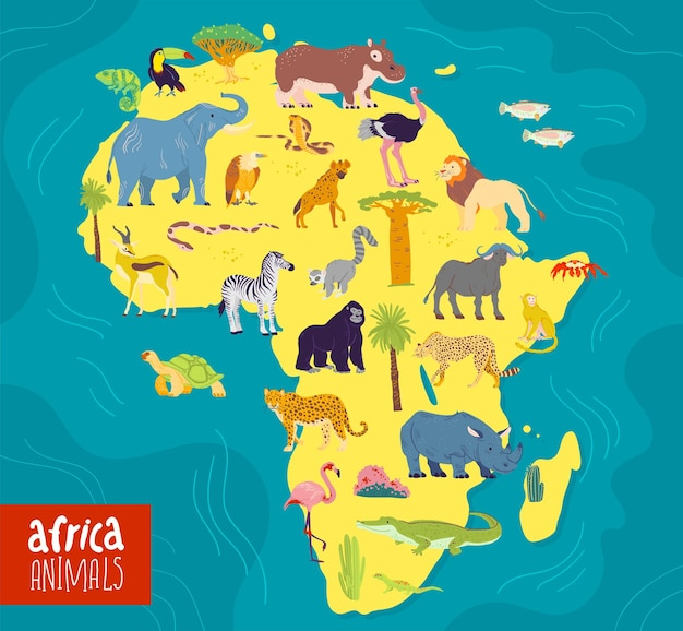 Płaskie ilustracji wektorowych zwierząt kontynentu afryki i roślin słoń nosorożec małpa zebra