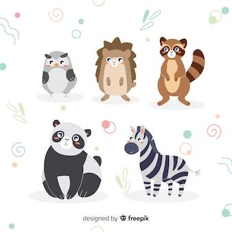 Płaskie ilustrowany zestaw uroczych zwierzątek