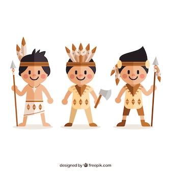 Płaskie indianie w stylu cartoon