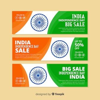 Płaskie indie dzień niepodległości banery sprzedaż
