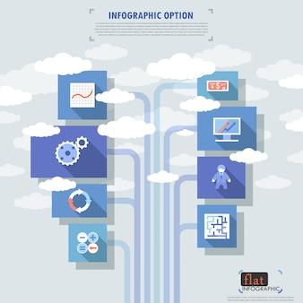 Płaskie infografika opcje transparent z ikony i chmury