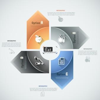 Płaskie infografiki opcje transparent ze strzałkami