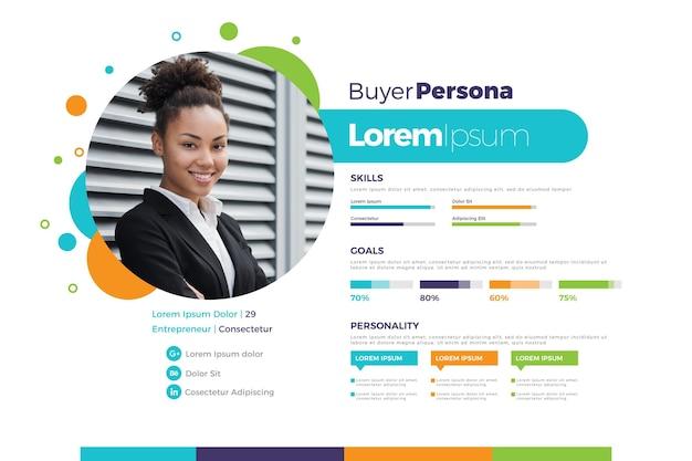 Płaskie infografiki persona kupującego ze zdjęciem kobiety