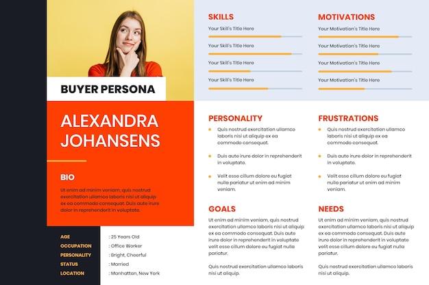 Płaskie infografiki persona kupującego ze zdjęciem