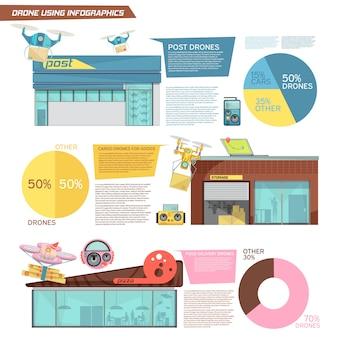 Płaskie infografiki z informacjami o użyciu ładunków i dronów do dostarczania żywności