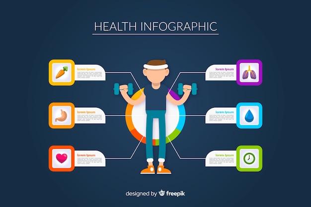 Płaskie infografiki zdrowia sportowców