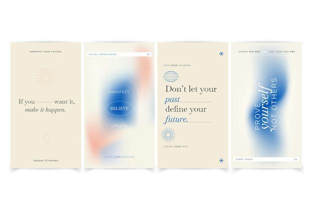 Płaskie inspirujące cytaty z kolekcji historii na instagramie