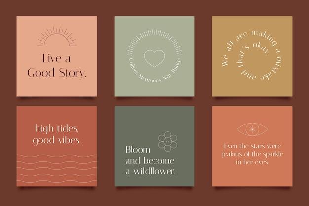 Płaskie inspirujące cytaty z kolekcji postów na instagramie